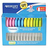 Westcott School Pack of Kids Scissors with Anti-microbial Protection, Pack of 12, Assorted, 5'' Blunt, Case of 3