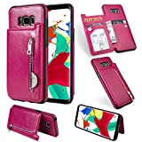 Zipper Wallet Case for Samsung Galaxy S8 Plus,Shinyzone Samsung Galaxy S8 Plus Case with Money Pocket [One Magnetic Buckle] Premium Vintage Leather PU Flip Back Cover-Rose Red