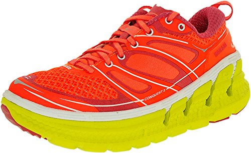 HOKA ONE ONE Womens Conquest 2 Running Sneaker Shoes Neon Coral/Citrus YvxfTg8