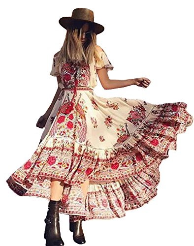 R.Vivimos Women Short Sleeve Print Asymmetrical Long Dress (Western Dress Clothes)