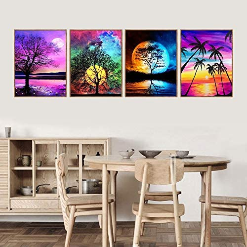 Cskunxia 4 Pack 5D DIY Diamond Painting Kit Full Drill Crystal Embroidery Painting Cross Stitch Arts Crafts for Home Wall Decor, 11.8 x 15.7Inches Without Frame