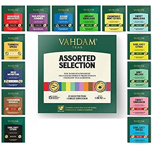 VAHDAM, Tea Variety Pack | 15 FLAVOURS | Award Winning Tea Sampler | Black Tea, Green Tea, Oolong Tea, Chai Tea, Herbal Tea | Long Leaf Pyramid Tea Bags | - Tea Green Set Gourmet