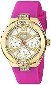 GUESS Women's U0327L2 Gold-Tone Watch with Pink Silicone Strap
