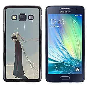 Be Good Phone Accessory // Dura Cáscara cubierta Protectora Caso Carcasa Funda de Protección para Samsung Galaxy A3 SM-A300 // Rain Death Monster Blue Clouds Skull