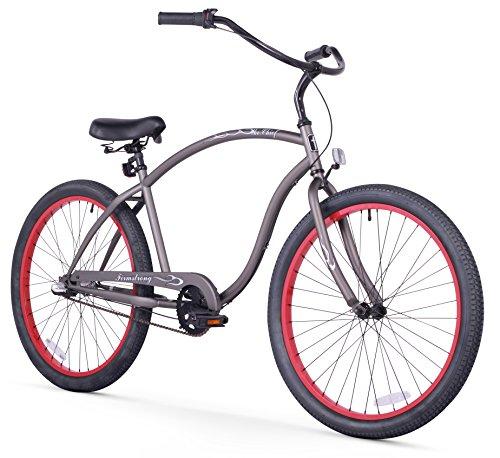 - Firmstrong Chief Man Three Speed Beach Cruiser Bicycle, 26-Inch, Matte Grey w/ Red Rims