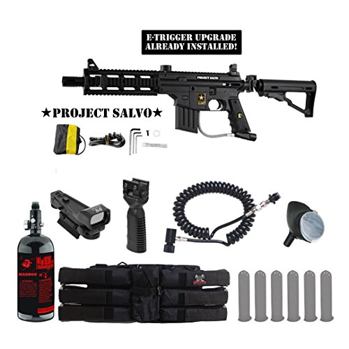 Tippmann U.S. Army Project Salvo w/ E-Grip Tactical HPA Red Dot Paintball Gun Package - Black by MAddog