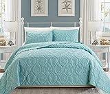 Chezmoi Collection Coral 3-Piece Seashore Beach Shells Bedspread Coverlet Set (Queen, Spa Blue)