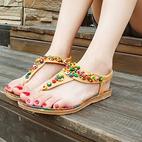 YOUJIA Mujer Thong Sandals Sandalias Bohemia Adorno de Rhinestone Zapatos de Playa Planas Amarillo