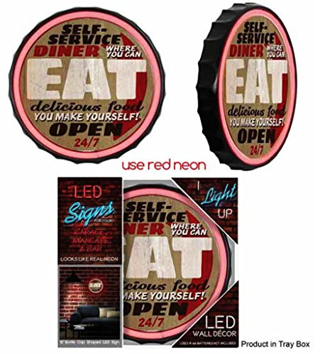 - Self Service Diner Eat Open 24 Hours LED Rope Neon Sign