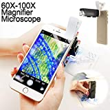 Universal 60-100X Zoom Microscope Magnifier LED+Uv Light Clip-on Micro Lens for Mobile Phone