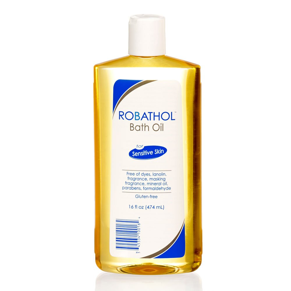 RoBathol Bath Oil for sensitive skin - made with cottonseed oil - dermatologist tested - fragrance free, preservative free - 16 Ounce 100-16