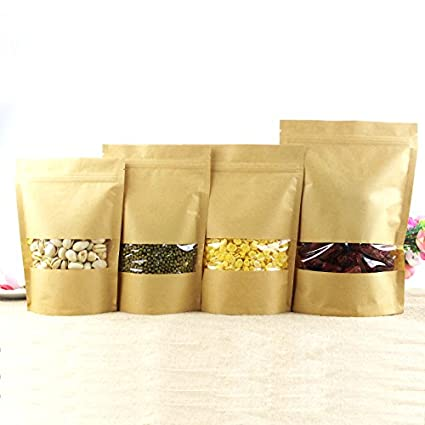 Buy Generic 9x14cm   Zip lock Kraft Paper Window Bag Stand up Gift dried  food fruit tea packaging Pouches Zipper Sel Sealing Bags Free Shipping  Online at ... 7946c2b780a9