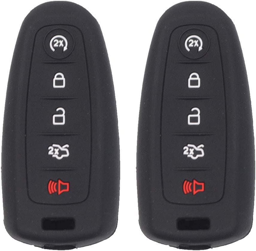 Btopars 2pcs 5 Buttons Black Smart Key Fob Silicone Case Cover Protector Holder Jacket Compatible with Ford CMAX Escape Focus Edge Expedition Explorer Flex Taurus