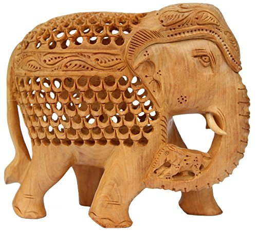 TODAY's BEST OFFER - SouvNear Premium Quality Elephant Statue Decor - Hand carved Wooden Figurine of Mother Elephant Unique Sculpture with Baby inside the Tummy and on the - Wooden Carved Elephant