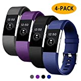 Fondenn Bands Compatible with Fitbit Charge 2, Black/Grey/Slate/Plum, Size 5.5