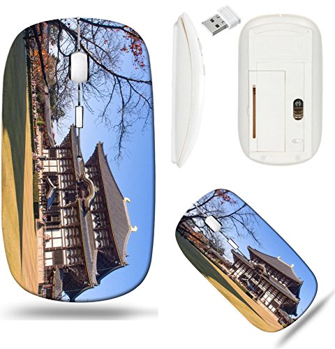 Todaiji Temple - Liili Wireless Mouse White Base Travel 2.4G Wireless Mice with USB Receiver, Click with 1000 DPI for notebook, pc, laptop, computer, mac book Todaiji temple is landmark travel of Nara city in Japan IM