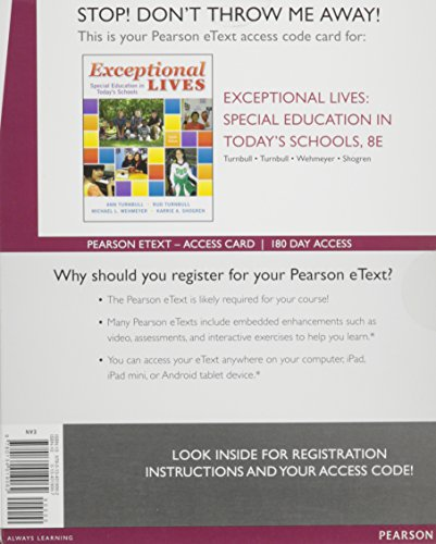 Exceptional Lives: Special Education in Today's Schools, Enhanced Pearson eText -- Access Card (8th Edition)