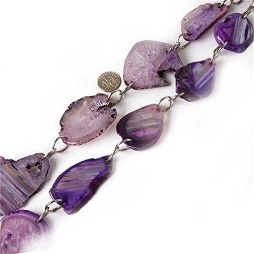 Agate Chunk - 25-50mm Chunk Gemstone Purple Banded Agate Beads Strands 15 Inches Jewelry Making Beads