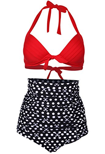 Spring Fever Retro Sexy 50s Elegant Vintage High Waist Bikini Diving Swimsuit Swimwear D Red Black Skull L (Bikini Monroe Bottom)