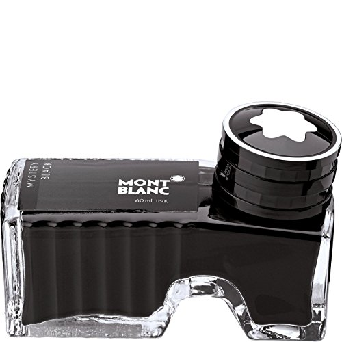 Montblanc Ink Bottle Mystery Black 105190 - Premium-Quality Refill Ink in Black for Fountain Pens, Quills, and Calligraphy Pens - 60ml Inkwell (Black Ink Bottle)
