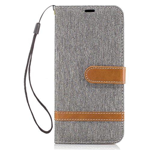 Trumpshop Smartphone Carcasa Funda Protección para Samsung Galaxy S7 edge (5,5 Pulgada) [Púrpura] Estilo Vaquero PU Cuero Caja Protector Billetera Choque Absorción Gris