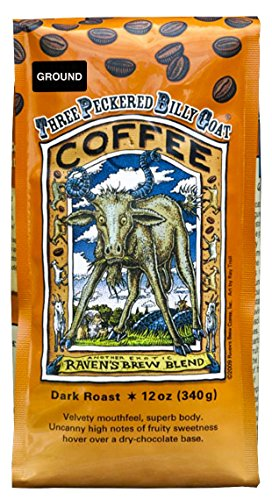 Raven's Brew Ground Coffee Three Peckered Billy Goat, 12 Ounce – Dark Roast – Full Body with a Long Sweet Finish