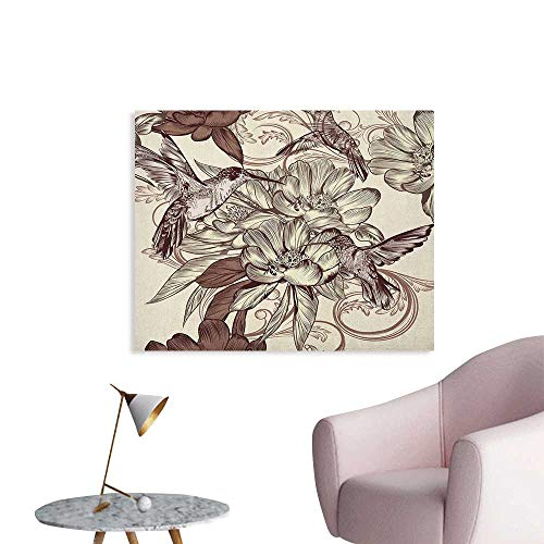 Anzhutwelve Hummingbirds Photographic Wallpaper Pattern with Birds and Flowers Classic Style Ornamental Design Floral Print The Office Poster Ivory Brown W48 xL32 ()