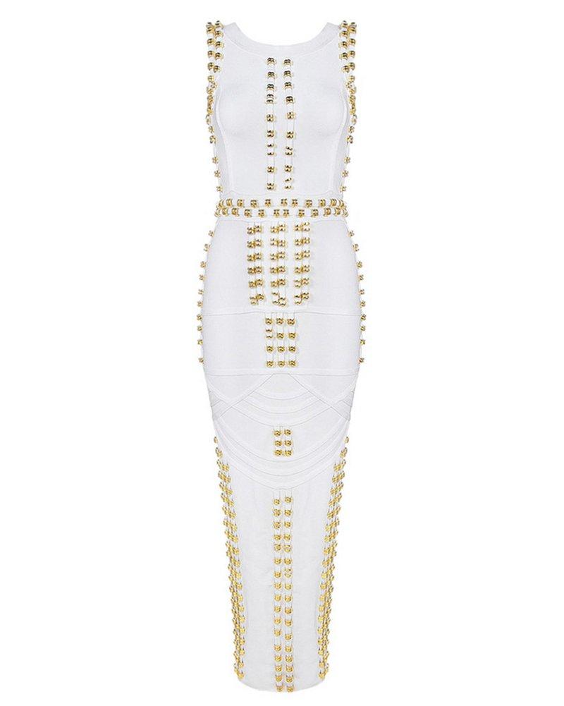 UONBOX Celebrity Style Women's Bodycon Studded Sleeveless Bandage Party Dress White S by UONBOX