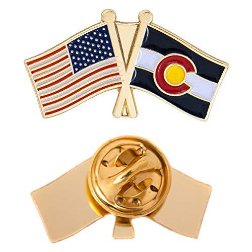 Colorado State Double Flag Lapel Pin Enamel with United States USA US Souvenir Hat Men Women Patriotic (Double Flag Pin) (Colorado Lapel Pin)