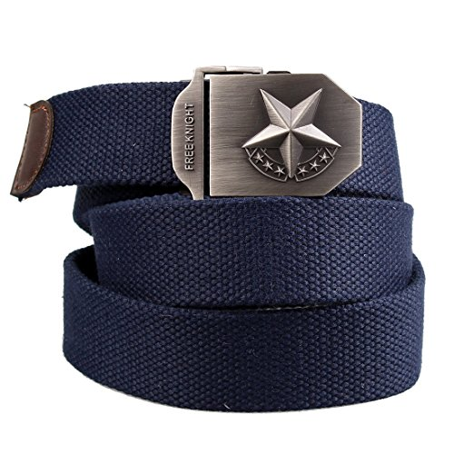 ALAIX Men's Military Style Tactical Canvas Web Belt 1.5''Adjustable With Antique Brass (Big Brass Buckle)