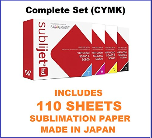 SUBLIJET HD Ink Cartridges for Sawgrass Virtuoso SG400/SG800 - COMPLETE SET (CMYK) - WITH 110 SHEETS OF SUBLIMATION PAPER (Made in Japan) Eventprinters brand. (Ink Tiles)