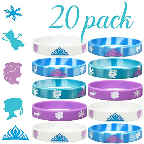 20 pc Birthday Party Favors Wristbands, Elsa, Anna Theme Party Favors (Frozen, Kids)]()
