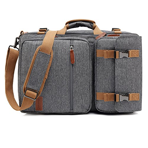 CoolBELL Convertible Briefcase Backpack Messenger Bag Shoulder Bag Laptop Case Business Briefcase Travel Rucksack Multi-Functional Handbag Fits 17.3 Inch Laptop for Men/Women (Grey) ()