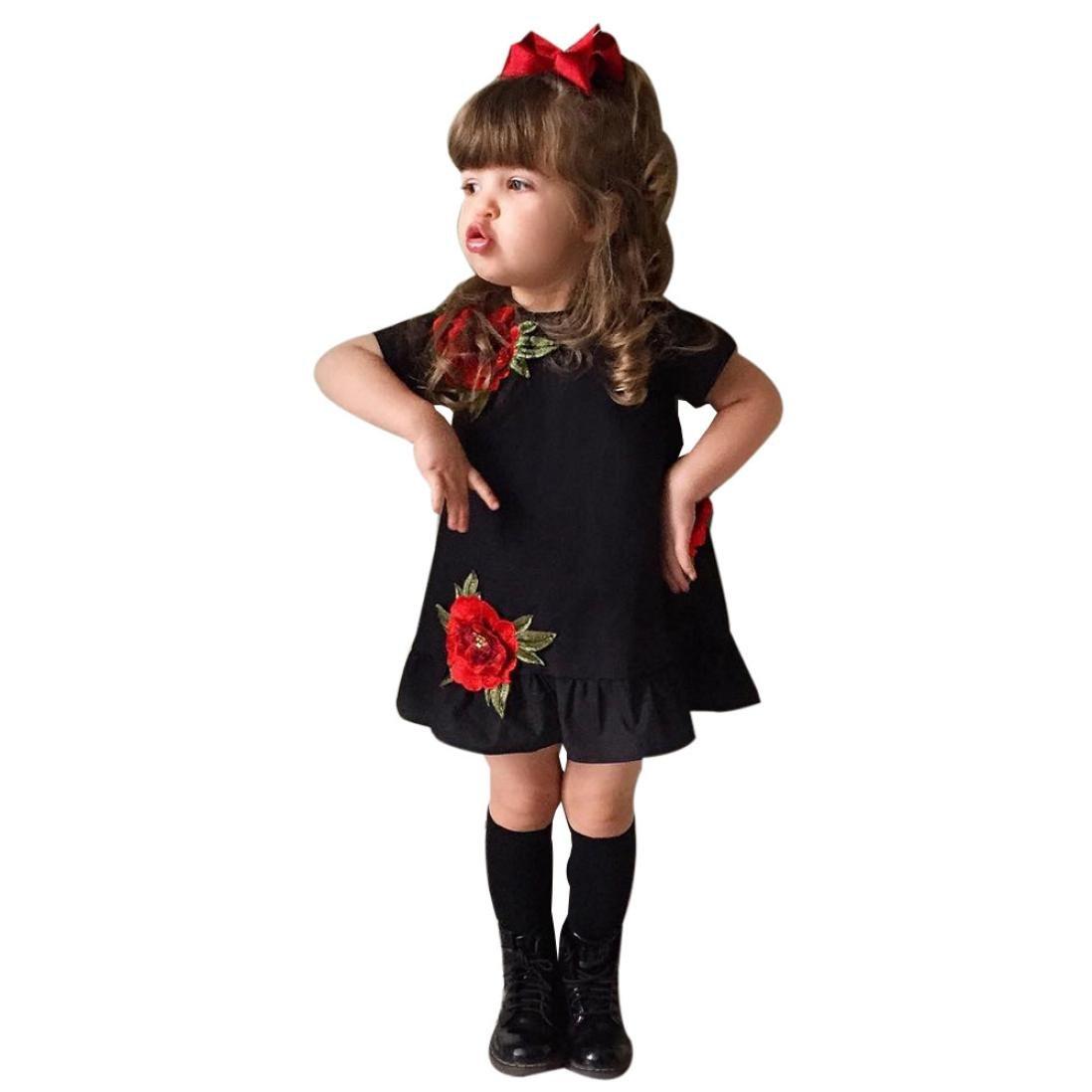 ❤ Amlaiworld Falda niña de Verano Bebé Niña Rosa Floral Vestir Pompa Princesa Fiesta Vestido ropa 6 Mes - 5 Años (Negro, Tamaño:3 Años): Amazon.es: Bebé