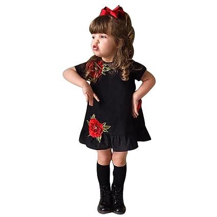 Amlaiworld Falda niña de Verano Bebé Niña Rosa Floral Vestir Pompa Princesa Fiesta Vestido