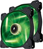 Corsair Air Series SP 140 Led Green High Static Pressure Fan Cooling-Twin Pack (Co-9050037-WW)