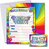 Rainbow Birthday Party Invitations with Envelopes 25 Pack | Kids Birthday | Gender Neutral, Invitations for Girls, Invitations for Boys | with Birthday Sticker