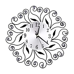 Tantisy ♣↭♣ 35 Crystal Leaf Metal Wall Clock 16 White Glass Dial with Arabic Numerals Handmade Metal Clock