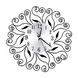 CZYCO Wrought Iron Diamond Wall Clock Bedroom Silent Metal Wall Clock Decor
