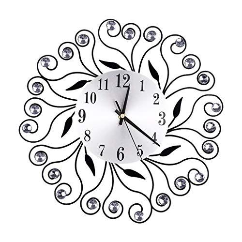 - FeiFei66 Fashion Wrought Lordliness Flower Set with Diamond Fashion Wall Clock Bedroom Silent Metal Wall Clock Decor (Black)