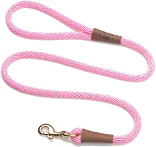 product image for Mendota Pet Snap Leash - British-Style Braided Dog Lead, Made in The USA - Pink, 3/8 in x 6 ft - for Small/Medium Breeds