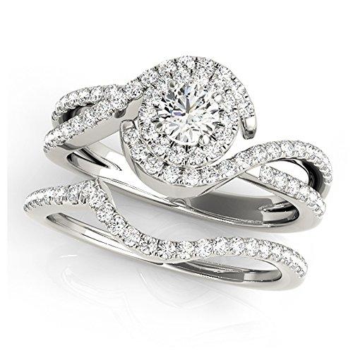 14K White Gold Unique Wedding Diamond Bridal Set Style MT50989