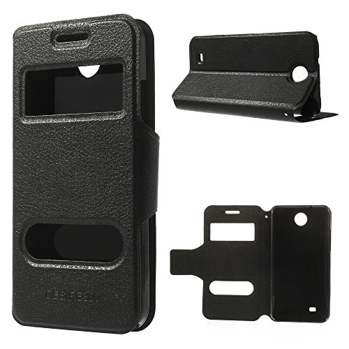 JUJEO Hollow Double Window View Litchi Skin Leather Stand Case for HTC Desire 300 Zara Mini - Non-Retail Packaging - Black