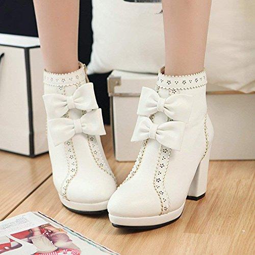 Zip Sweet Ankle Platform Womens Heels Shoes Block High White Winter Heel Bow Autumn Coolulu Boots Hgxzvq