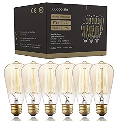 Vintage Edison Bulb 60W - Dimmable Squirrel Cage Filament Style - Incandescent Vintage Antique Bulb for Home Light Fixtures - Clear Glass - E26/E27 Base - 6 Pack