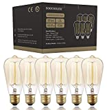 Edison Bulb 25W - 6 Pack - Dimmable Squirrel Cage Filament Style - Incandescent Vintage Antique Bulb for Home Light Fixtures - Clear Glass - E26/E27 Base