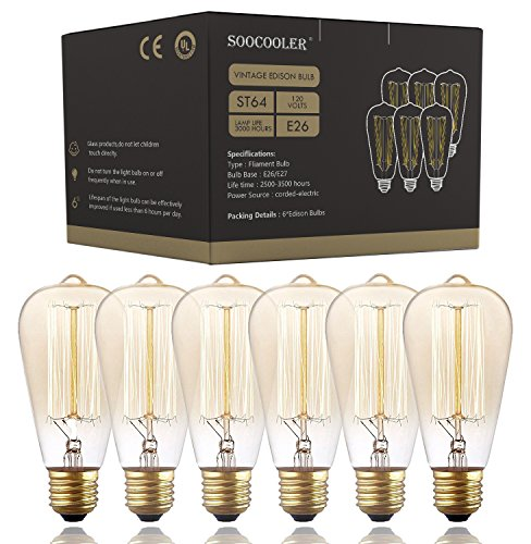 (Edison Bulb 25W - 6 Pack - Dimmable Squirrel Cage Filament Style - Incandescent Vintage Antique Bulb for Home Light Fixtures - Clear Glass - E26/E27 Base - Edison Light Bulbs)