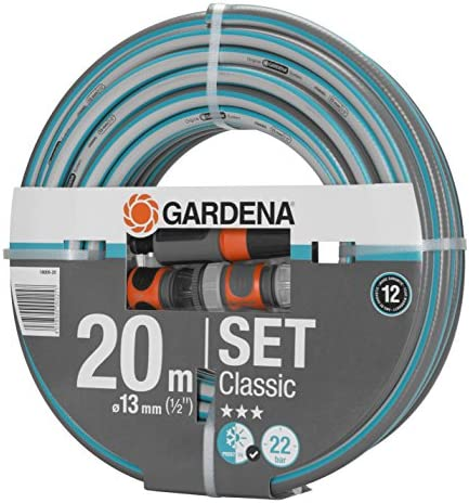 GARDENA Classic Hose, 13 mm (1/2 Inch), 20 m: Universal garden hose of robust cross-weave, 22 bar burst pressure, UV resistant, without system parts (18008-20)