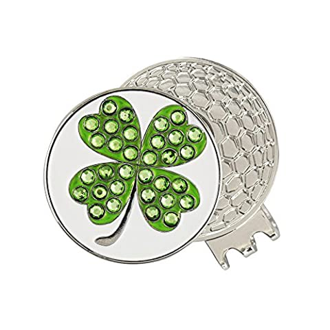 PINMEI Magnetic Golf Hat Clip with Golf Ball Marker (Clover) - Magnetic Ball Marker