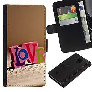 KingStore / Leather Etui en cuir / Samsung Galaxy S5 Mini, SM-G800 / Amor Amor